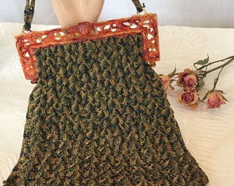 Vintage Green Tan Blue String Crochet Celluloid Top Bag Purse. Aged Red Lining, Gold Red Celluloid Flip Latch Decorative Frame Handbag.