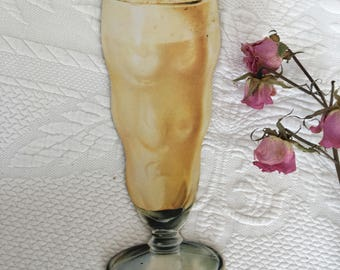 Vintage Soda Fountain Cardboard Sign. Root Beer Float Soda in Pedestal Glass to Advertise and Display at Soda Fountain.