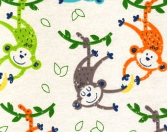 Snuggle Flannel Prints - Monkeys and Bananas - 31 inches