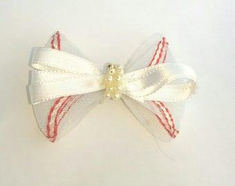 Red and White hair bow, hair bow, girl hair bow,