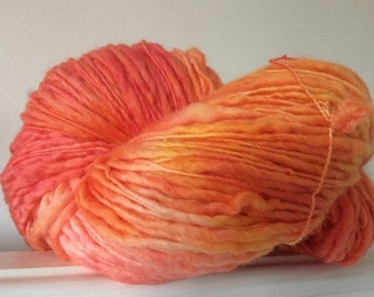 Hand Dyed Slub Thick And Thin Yarn Corriedale 250g OOAK