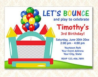Bounce House Invitation, Jump Party Invite, Personalized Printable Lets Bounce Invitations, Boy or Girl Bounce Party,  DIY Digital Download