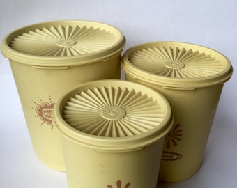 Tupperware Canister Set, Yellow,  Set of 3