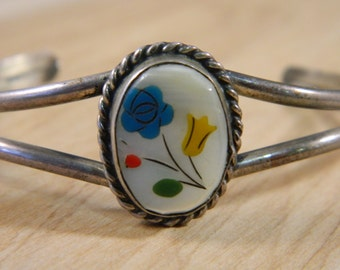 Vintage Sterling Silver, Mother of Pearl, Coral and Blue Turquoise Flower Cuff Bracelet / Southwestern Navajo Old Pawn Cuff