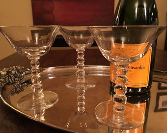 3 Vintage  Champagne Coupe Glasses - Set of Three Cocktail Glasses