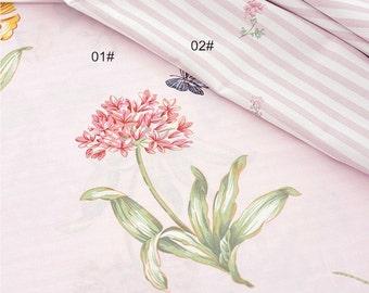 Cotton Fabric, Twill Cotton Fabric, Shabby Chic, Flower on Pink Stripe Cotton Fabric ,Decor Fabric 1/2 Yard (QT1008)