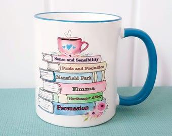 Jane Austen Book Mug, Blue Edition, Pride and Prejudice, Persuasion, Literary Quote, Floral Mug, Romantic, 2-sided design