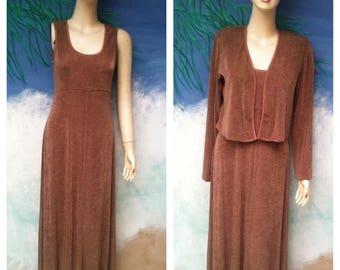1/2 OFF 1980's Rabbit Designs Brown Metallic Dress n Metallic Cropped Jacket, 2 pc, size S, Made in USA