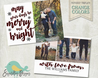 Holiday Card PHOTOSHOP TEMPLATE - Family Christmas Card 152