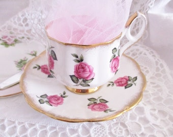 Vintage english Stratford pink roses teacup and saucers, hampton style teacup, high tea tea set,  excellent condition