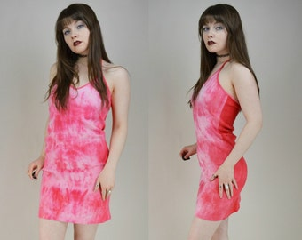 90s Pink Tie Dye Halter Neck Mini Dress S