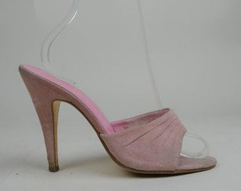 80s Does 50s Pink Suede Slip On High Heel Barbie Mules UK 5 / US 7.5 / EU 38