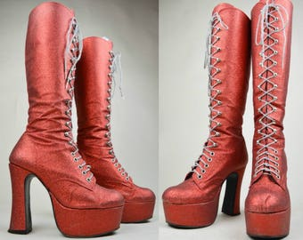 90s Does 70s Red Glitter Lace Up Knee High Platform Boots UK 5 / US 7.5 / EU 38