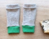 Fingerless Gloves in grey and green cashmere, wrist warmers, typing gloves in greys
