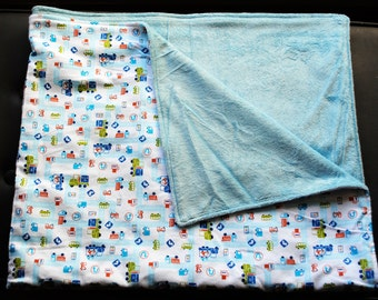 SALE 25% off- trucks and cars blue print cotton flannel blanket with soft minky backing
