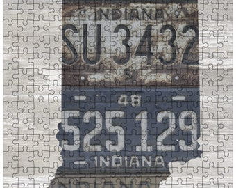 Indiana Jigsaw Puzzle | Vintage License Plate Art | State Outline | Fun Puzzle