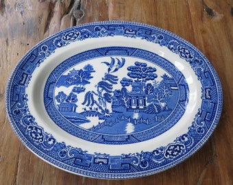 Blue and white china oval servng plate