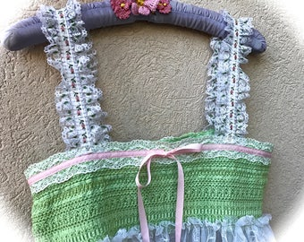 "Rustic Romantic Lace Pinafore Top Boho Shabby Chic Fresh Spring Green N"" Pinks Size Small"