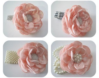 Stunning Blush Pink Satin and Organza Wrist Corsage Choose Bracelet Style Bridesmaid Mother of the Bride Prom Choose Accent Custom Order