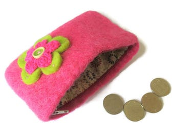Pink Upcycled Wool Felt Purse - Felted Change Purse - Coin Purse - Coin Wallet