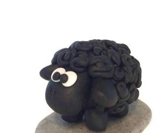 Sheep Cake Topper, Polymer Clay, Sheep Ornament, Handmade Sheep, Cake Topper, Christening Keepsake, Baby Shower, Collectible Sheep Figurine