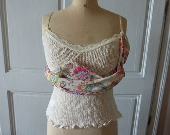 French Romantic Top, Vintage, French Designer Zone Bleue, Unworn Tagged.