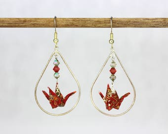 Sterling Silver Dangle Earring Red Origami Crane Tear Drop Shaped Hoop
