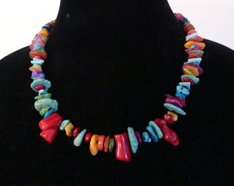 18 Inch Organic Coral and Turquoise Necklace with Earrings