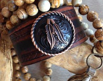 Spirit Feathers Leather Cuff, Cuff Bracelet