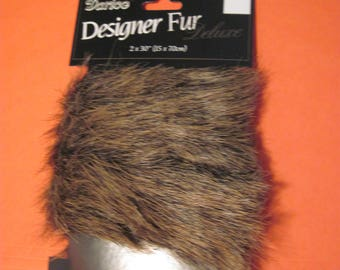Brown Darice Designer Faux Fur Fabric Remnant for Trimming Doll Clothes