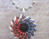 Pendant Ilvermorny Chain Maille Necklace Red and Blue Aluminum