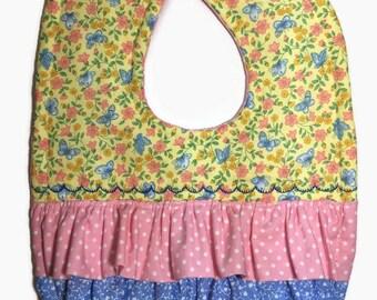 Baby Girl Bib - Ruffled Bib - Quilted Baby Bib - Floral Bib - Butterfly Bib - Dribble Bib - Toddler Bib - Baby Girl Gifts - Custom Baby Bibs