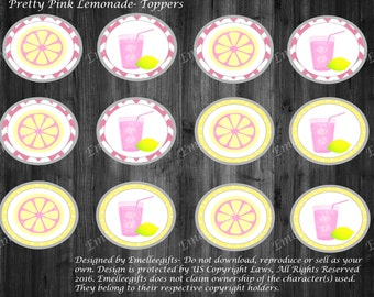 Pretty Pink Lemonade Toppers  ~INSTANT DOWNLOAD~