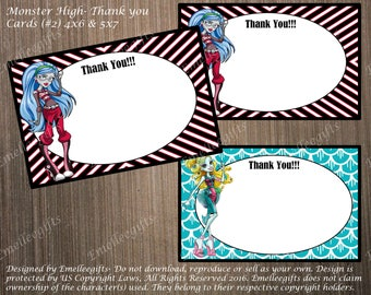 Monster High Thank You Note Cards #2 ~INSTANT DOWNLOAD~