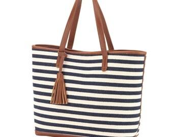 Navy Stripe Monogrammed Tote Bag