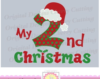 My 2nd Christmas with Santa hat,Christmas number 2 with santa hat,Silhouette & Cricut Cut Files CHSVG04  -Personal and Commercial Use