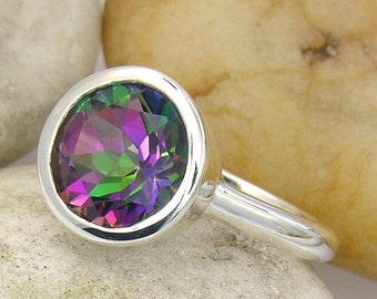 SALE 2 days only Mystic Fire Topaz Ring. Mystic Topaz Ring in Sterling Silver. Silver Mystic Topaz Solitaire Ring - LIMITED EDITION