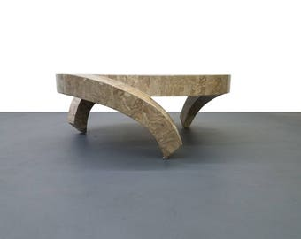 3 Legged Tessellated Stone Coffee Table by Maitland Smith