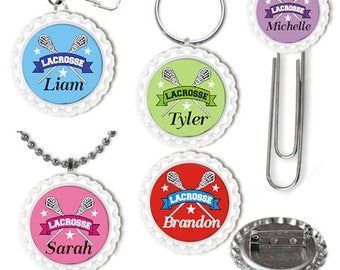 Personalized Lacrosse Keyring, Zipper Pull, Bookmark, Pin, Necklace, Lacrosse Party Favors, Kids, Tweens, Teens, Adults, Lacrosse Accessory