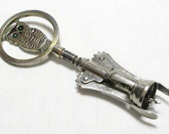 Corkscrew, Italian Corkscrew, Large Corkscrew, Owl Corkscrew, Novelty Corkscrew, Vintage Corkscrew