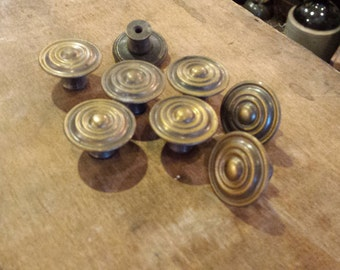 EIGHT Vintage Brass Drawer Pulls - Hardware