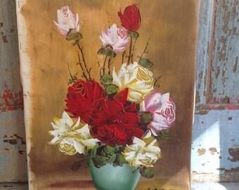 Vintage unframed still life, mid century roses, turquoise vase, reds, pinks