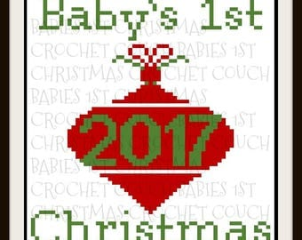 Baby's First Christmas Afghan, C2C Graph, Crochet Pattern