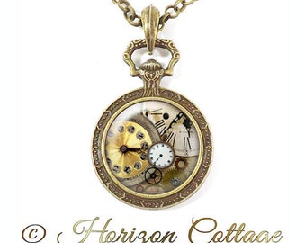 Steampunk Clockworks Necklace, Vintage Style Watch Bezel, Clock Gears & Cogs, Steampunk Jewelry, Clock Art Pendant, Your Choice of Finish