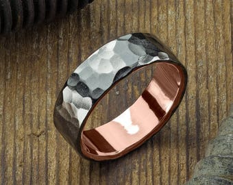 6mm 14k Rose Gold Mens Wedding Ring, Hammered Matte Rhodium
