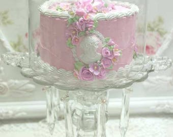 Faux Pink Cameo Cake , Cover and Stand