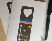 DC Metro Greeting Cards. Four Pack. 4 1/4 x 5 1/2. Kraft Envelopes. Valentine's Day.