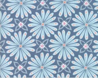 Early Bird by Kate Spain for Moda - Floral - Aurora - Denim Blue - Fat Quarter - FQ- Cotton Quilt Fabric