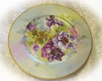 Antique Limoges France Hand Painted Purple Floral Plate with Gold Trim