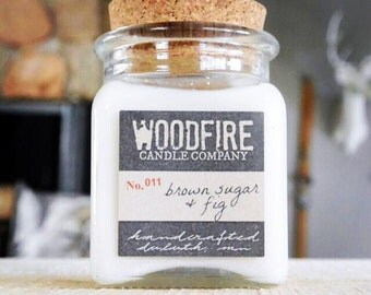 BROWN SUGAR & FIG Apothecary Cork Topped Jar Wood Wick Soy Candle 8.5oz Perfect Gift